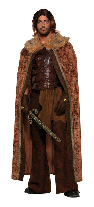 Faux Fur Trimmed Cape Brown. Male Thumbnail 1