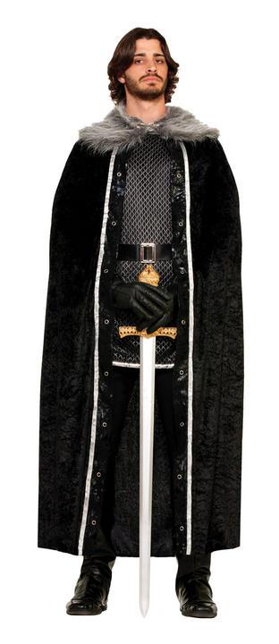 Adult Faux Fur Trimmed Black Cape  Thumbnail 1