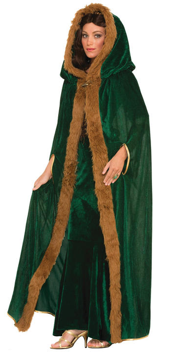 Adult Faux Fur Trimmed Green Cape Thumbnail 1