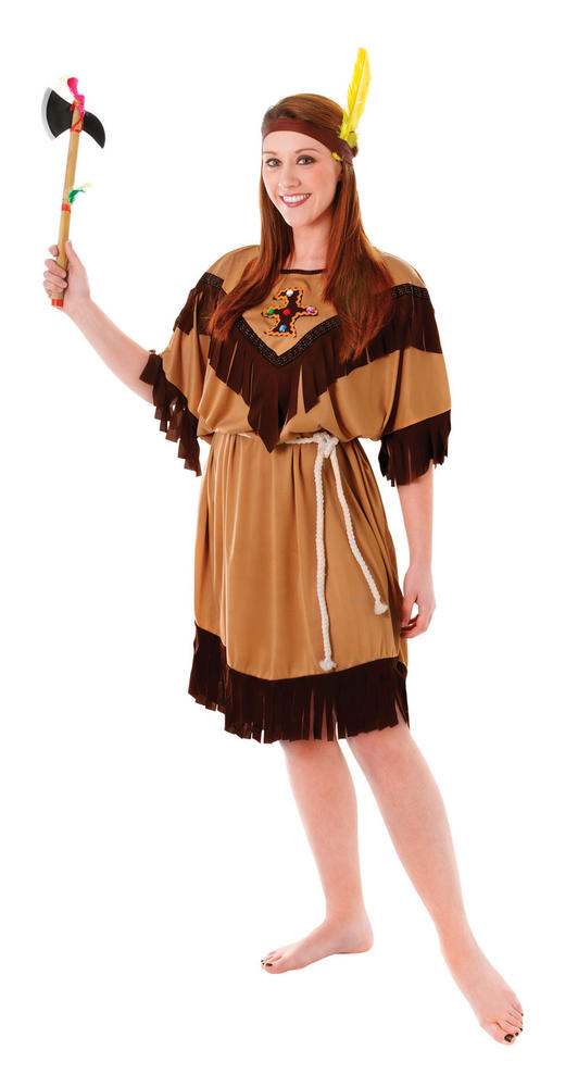 Indian Squaw Ladies Wild West Fancy Dress Costume Party Outfit Plus Size 18 -22