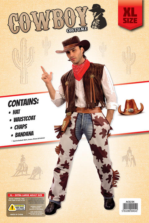 Adult Cowboy Costume Extra Large Thumbnail 2