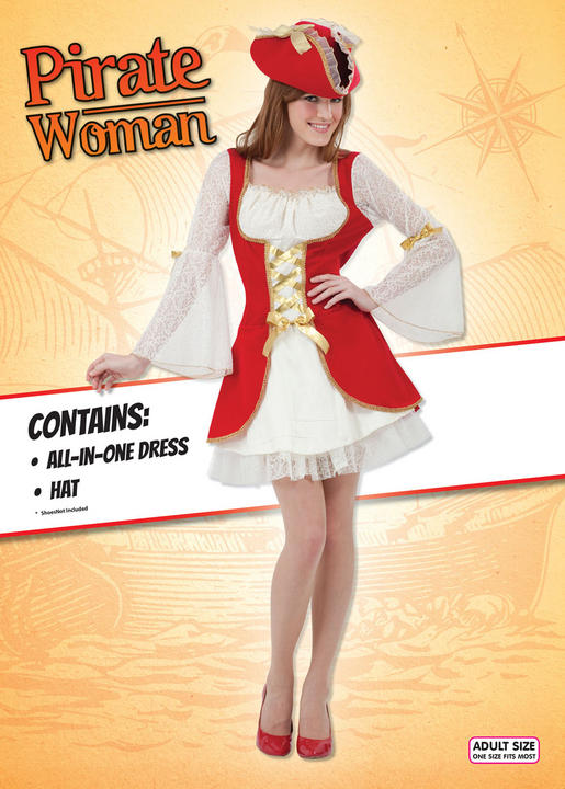 Adult Womens Red Pirate Costume Thumbnail 2