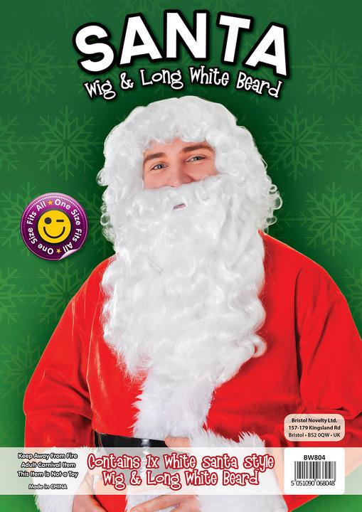 Santa Wig + Long Bread. White Thumbnail 1