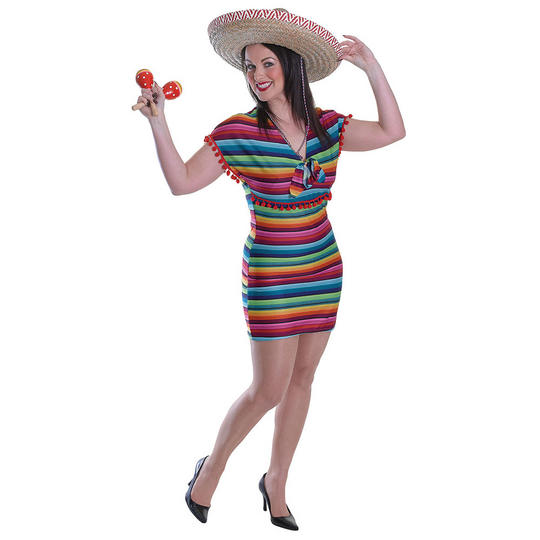 Mexican Tequila Ladies Fancy Dress Costume Hen Party Outfit Adult Sexy Wild West Thumbnail 1