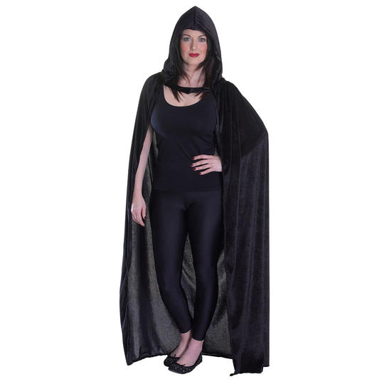 Velvet Black Hooded Cloak Thumbnail 1