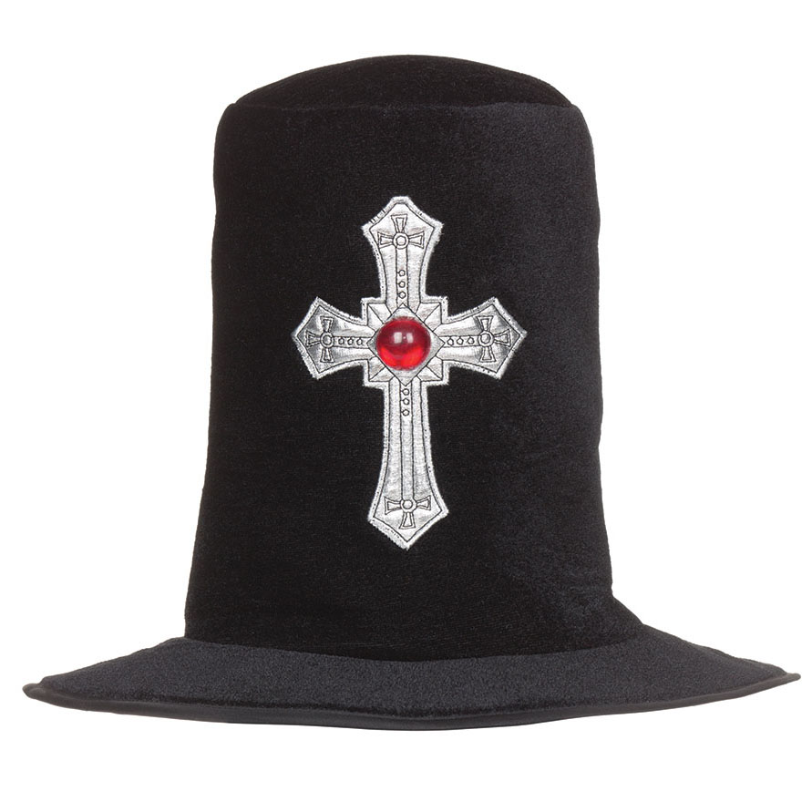 Velvet Top Hat  with Silver Cross