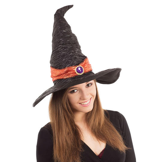 Womens Black Witch Hat with Orange Band Thumbnail 1