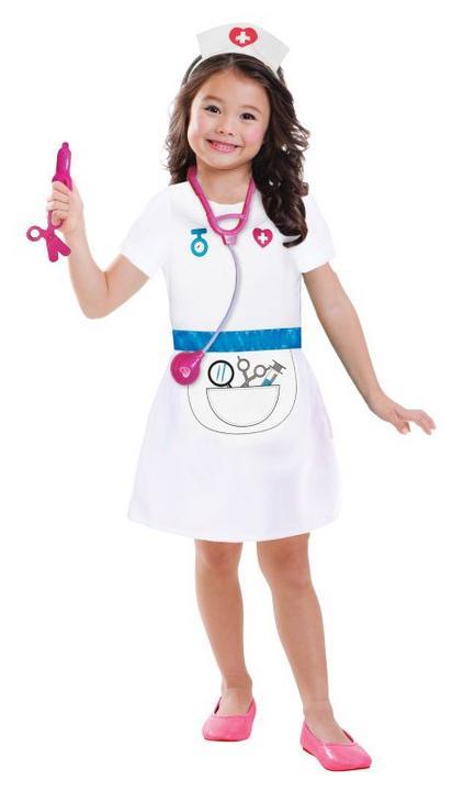 Girls Nurse Fancy Dress Costume Thumbnail 1