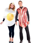 Breakfast bacon egg costume mens womens Fancy Dress outfit Ladies Adult couple