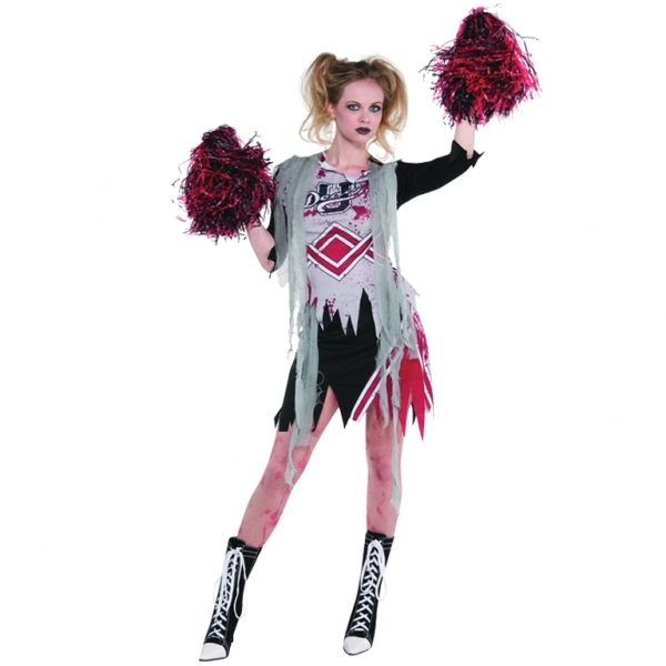 Adult Plus Size Zombie Cheerleader Ladies Halloween Fancy Dress Costume Outfit