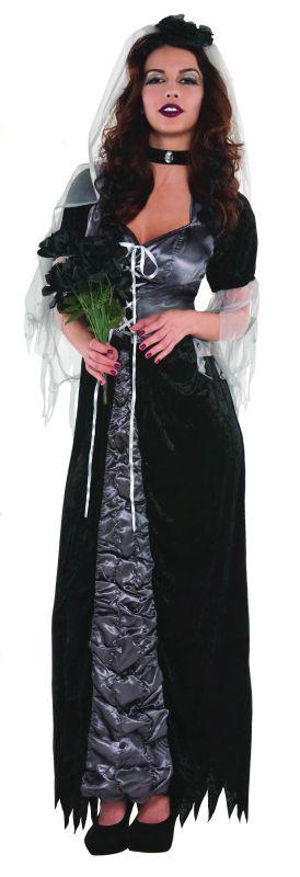 SALE! Adult Black Evil Bride Ladies Halloween Party Fancy Dress Costume Outfit