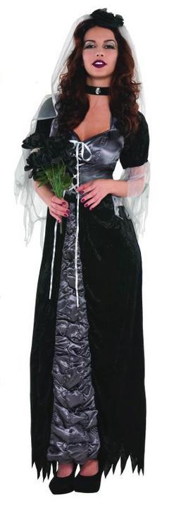 SALE! Adult Black Evil Bride Ladies Halloween Party Fancy Dress Costume Outfit Thumbnail 1