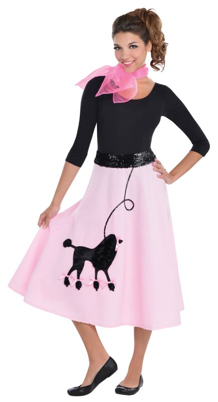 1950s Rock n Roll Bopper Poodle Pin up Womens Costume Ladies Fancy Dress Outfit