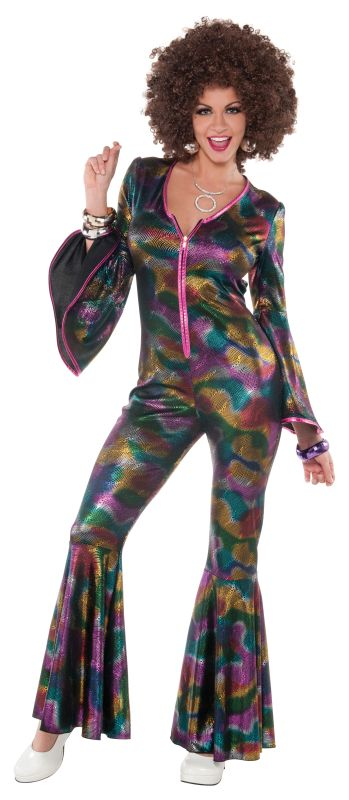 Deluxe Sexy 70's Disco Diva Ladies Fancy Dress Costume Hen Party Outfit