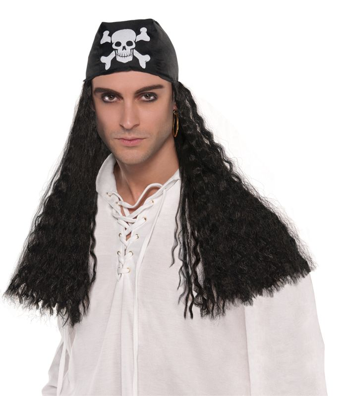 Mens Pirate Bandana and  Wig