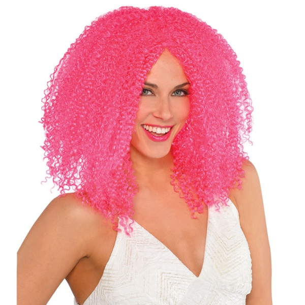 Womens  Pink Crimped Wig
