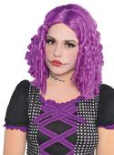 Adult Sexy Purple Rag Doll Wig Ladies Halloween Fancy Dress Costume Accessory