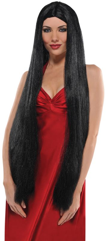 Long Sexy Black Witch Wig Ladies Halloween Party Fancy Dress Costume Accessory