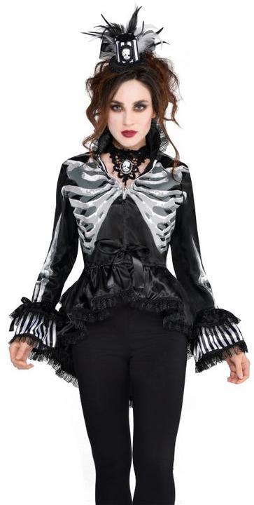 Deluxe Skeleton Bones Jacket Ladies Halloween Party Fancy Dress Costume Outfit Thumbnail 1