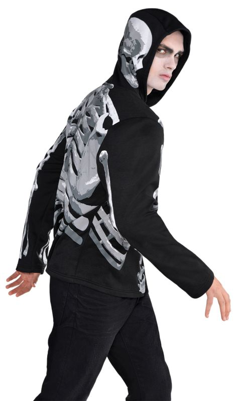 SALE Adult Skeleton Bones Hoodie Mens Halloween Party Fancy Dress Costume Outfit