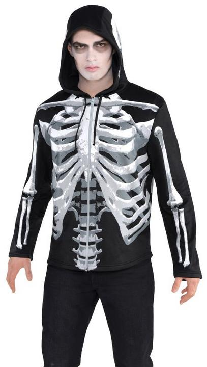 SALE Adult Skeleton Bones Hoodie Mens Halloween Party Fancy Dress Costume Outfit Thumbnail 2
