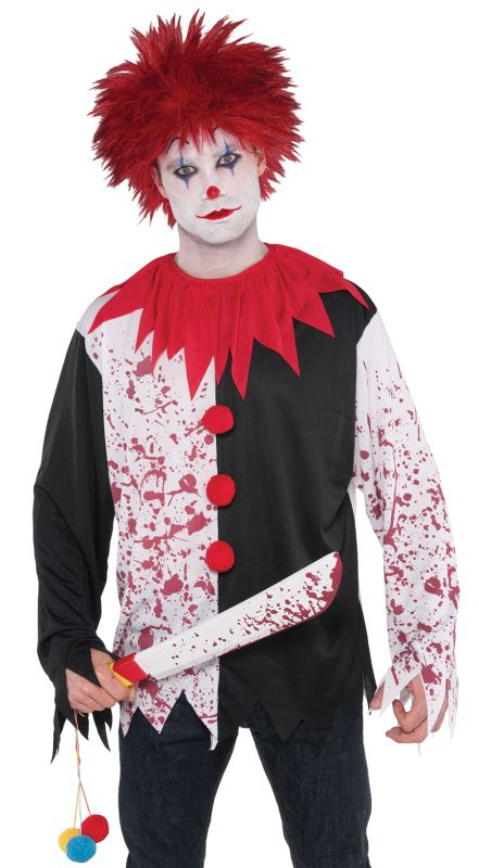 SALE! Adult Evil Clown Shirt (Only) Mens Halloween Fancy Dress Costume Accessory