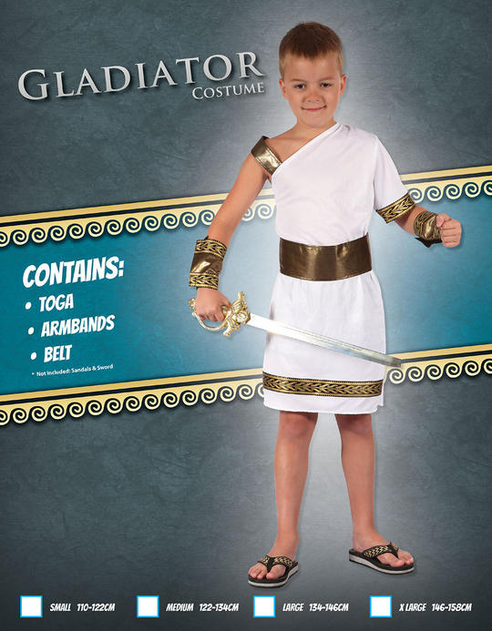 Kids Roman Warrior Gladiator Boys Book Week Fancy Dress Childs Costume Outfit Thumbnail 2