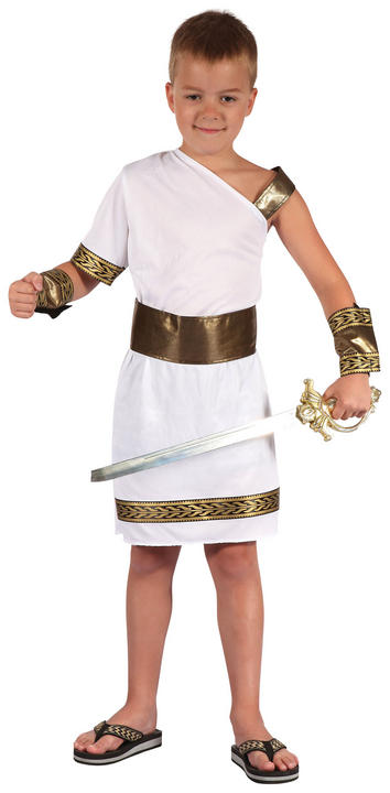 Kids Roman Warrior Gladiator Boys Book Week Fancy Dress Childs Costume Outfit Thumbnail 1