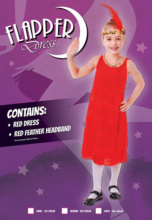 Kids 1920's Red Charleston Flapper 20's Dress Girls Fancy Dress Childs  Costume Thumbnail 2