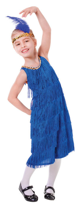 Kids 1920's Blue Flapper Charleston 20's Girls Fancy Dress Costume Party Outfit Thumbnail 1