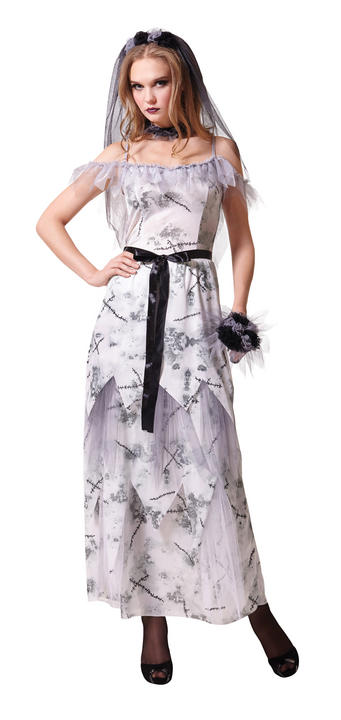 Zombie Bride Costume Ladies Halloween Horror Night Fancy Dress Party Outfit Thumbnail 1