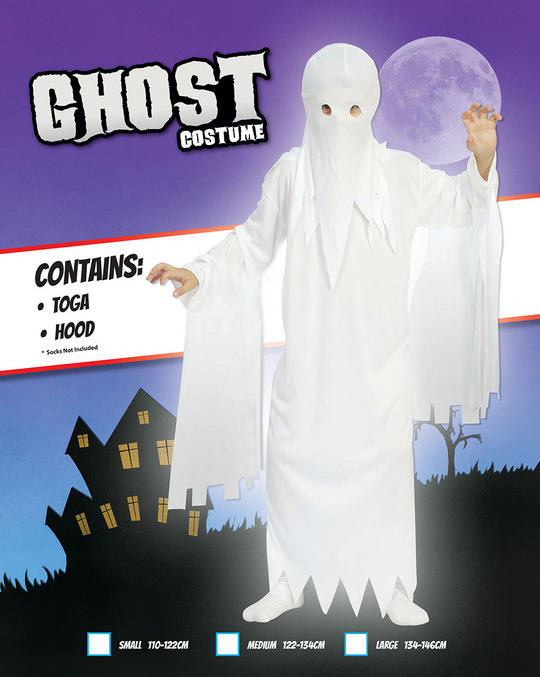 Kids Spooky Ghost Ghoul Boys Halloween Party Fancy Dress Childs Costume Outfit Thumbnail 2