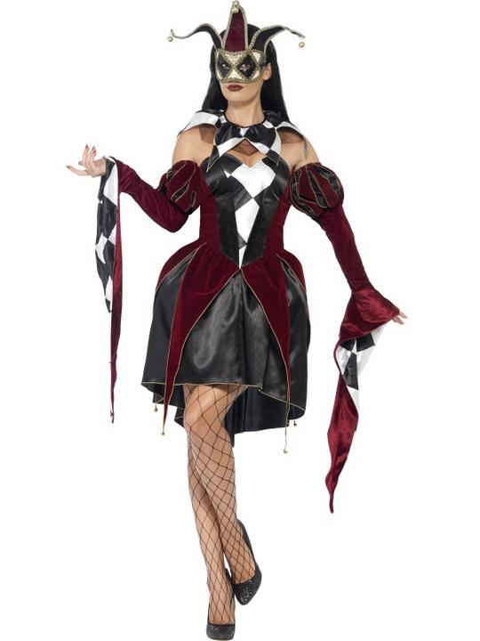 Adult Sexy Gothic Venetian Harlequin Ladies Halloween Fancy Dress Costume Outfit Thumbnail 1