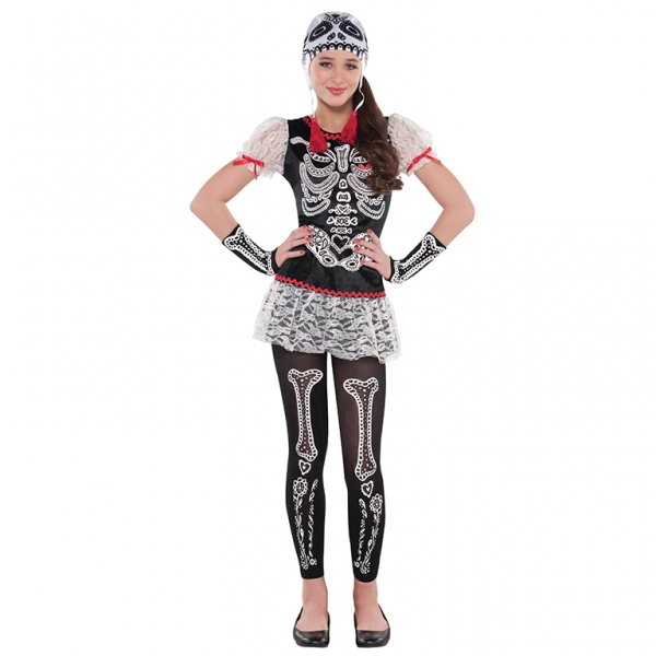 Teen Mexican Day Of The Dead Sassy Skeleton Girls Halloween Fancy Dress Costume