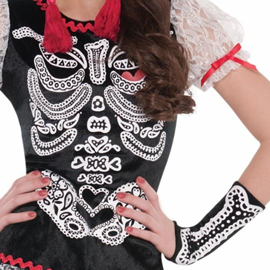 Teen Mexican Day Of The Dead Sassy Skeleton Girls Halloween Fancy Dress Costume Thumbnail 3