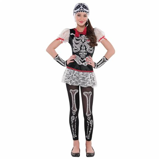 Teen Mexican Day Of The Dead Sassy Skeleton Girls Halloween Fancy Dress Costume Thumbnail 1