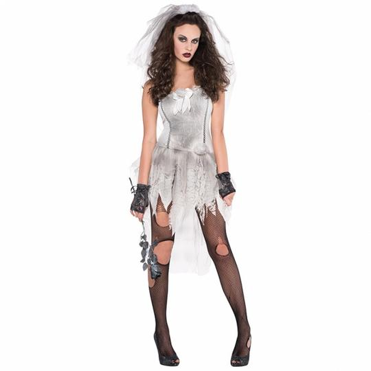 Deluxe DEAD Sexy Zombie Bride Ladies Halloween Fancy Dress Costume Party Outfit Thumbnail 1