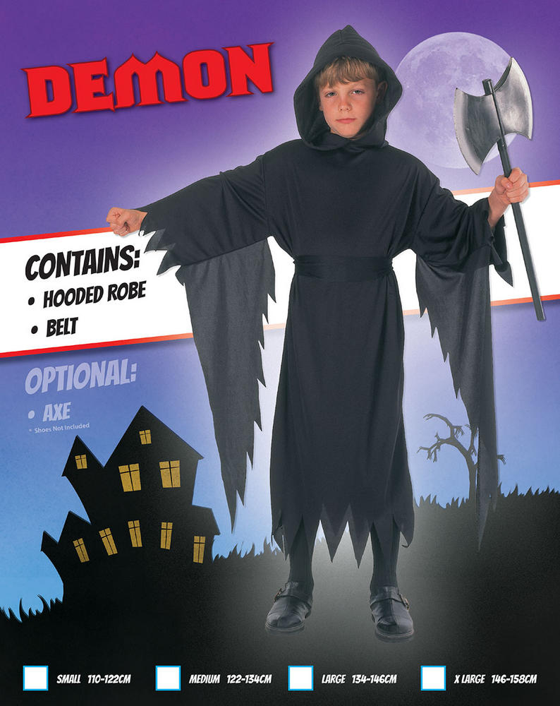Kids Black Demon Hooded Robe Boys Halloween Fancy Dress Childs Costume Outfit