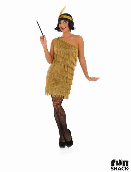 Gold Flapper Fancy Dress Costume Thumbnail 1