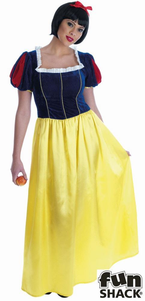 Adult Snow White Long Dress Ladies Fairytale Fancy Dress Costume Plus Size