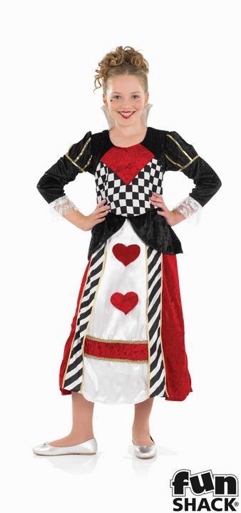Kids Wonderland Queen Of Hearts Girls Book Week Fancy Dress Child Costume Outfit Thumbnail 1