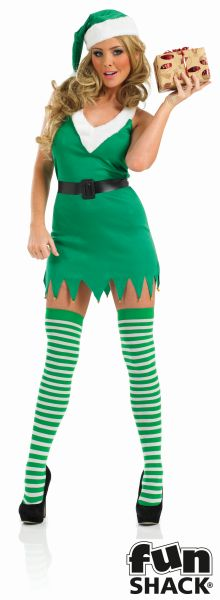 Sexy Miss Elf Ladies Christmas Party Fancy Dress Costume Outfit UK Size 8 - 18 Thumbnail 1