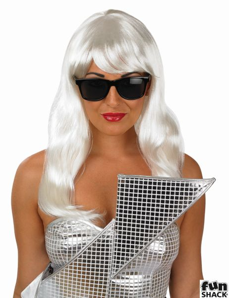 Womens Long Pop Diva Wig And Glasses Thumbnail 1