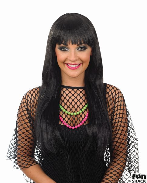 Womens Black Fringe Wig