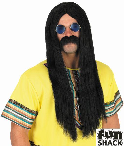 Mens Black Hippie Wig
