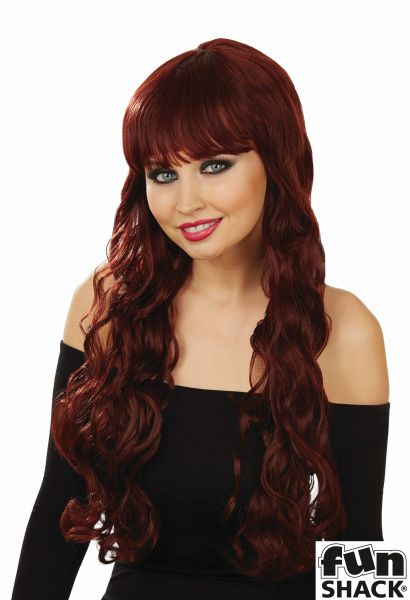 Womens Brown Long Wavy Wig
