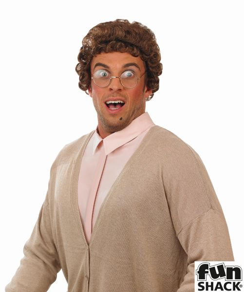 Mens Brown Granny Wig