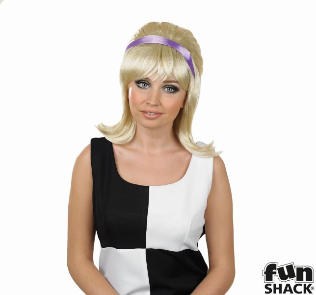 Womens Blonde Beehive With Purple Ribbon