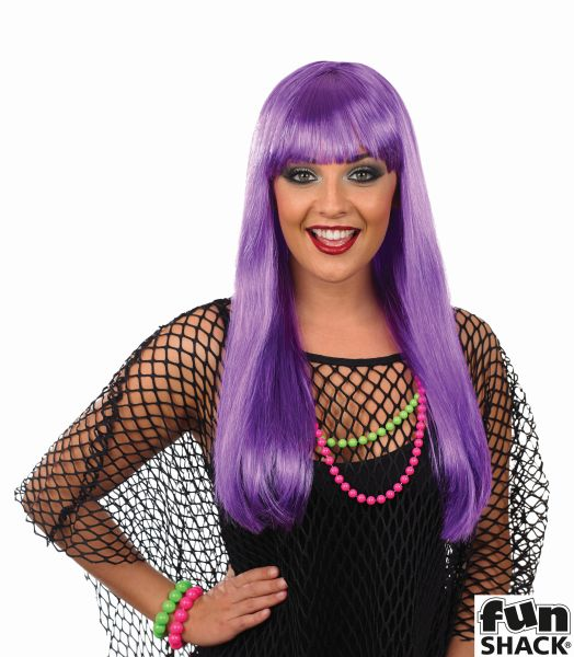 Womens Hot Purple Fringe Wig