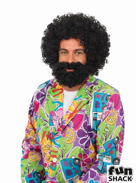 Mens Black Afro Wig And Beard